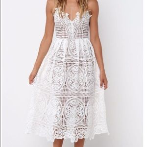 Dresses & Skirts - White lace midi dress